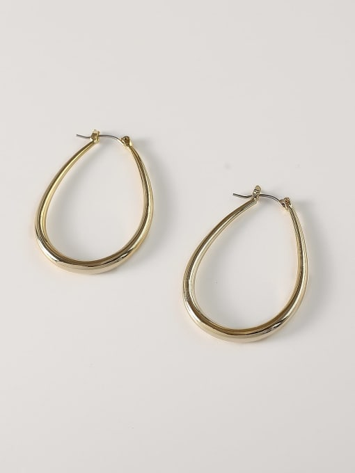 14k Gold [small] Brass Hollow Geometric Minimalist Huggie Earring